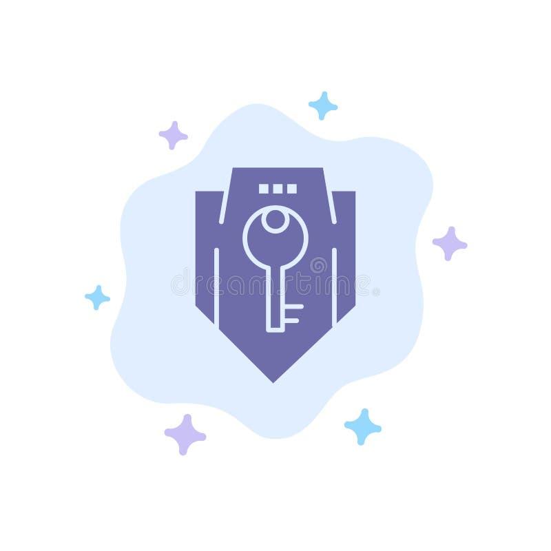 Acceso, llave, protección, seguridad, icono azul del escudo en fondo abstracto de la nube stock de ilustración