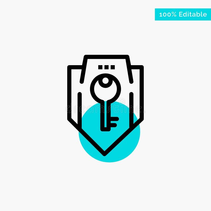 Acceso, llave, protección, seguridad, icono del vector del punto del círculo del punto culminante de la turquesa del escudo stock de ilustración