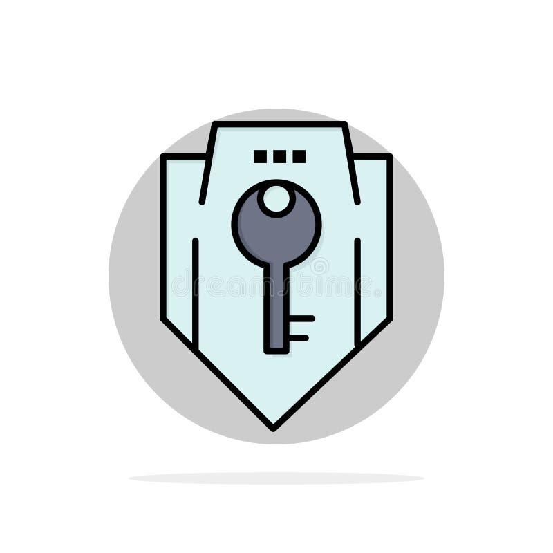 Acceso, llave, protección, seguridad, icono plano del color de fondo del círculo del extracto del escudo stock de ilustración