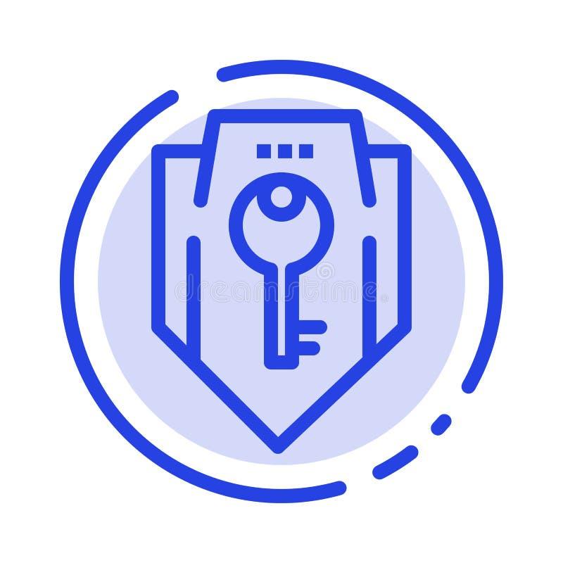 Acceso, llave, protección, seguridad, línea de puntos azul línea icono del escudo ilustración del vector