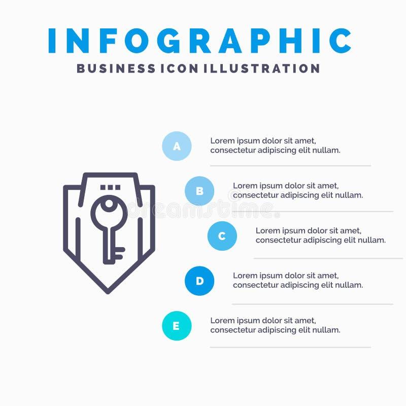 Acceso, llave, protección, seguridad, línea icono del escudo con el fondo del infographics de la presentación de 5 pasos libre illustration