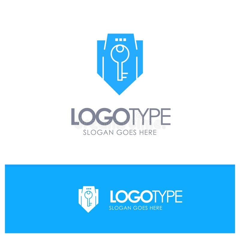 Acceso, llave, protección, seguridad, logotipo sólido azul del escudo con el lugar para el tagline ilustración del vector