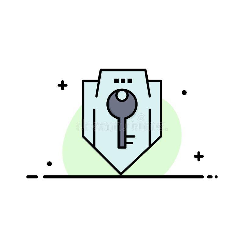 Acceso, llave, protección, seguridad, negocio Logo Template del escudo color plano stock de ilustración