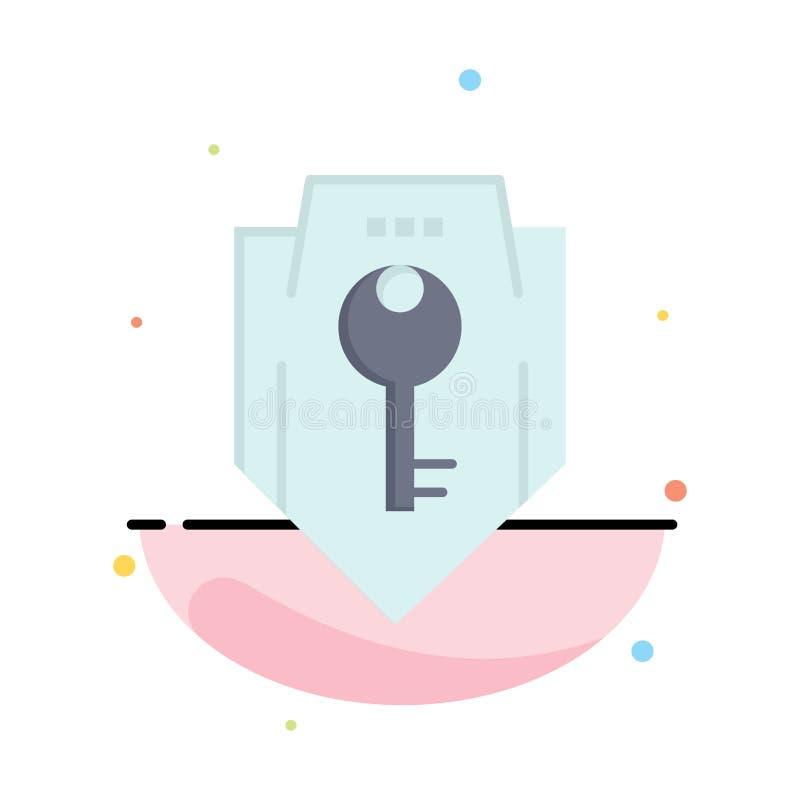 Acceso, llave, protección, seguridad, plantilla plana del icono del color del extracto del escudo libre illustration