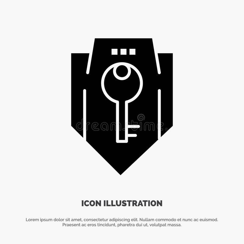 Acceso, llave, protección, seguridad, vector sólido del icono del Glyph del escudo stock de ilustración