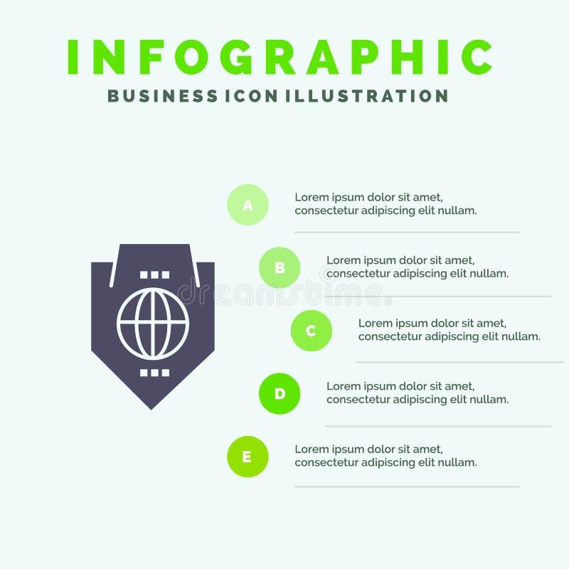 Acceso, mundo, protección, globo, fondo sólido de la presentación de los pasos de Infographics 5 del icono del escudo libre illustration