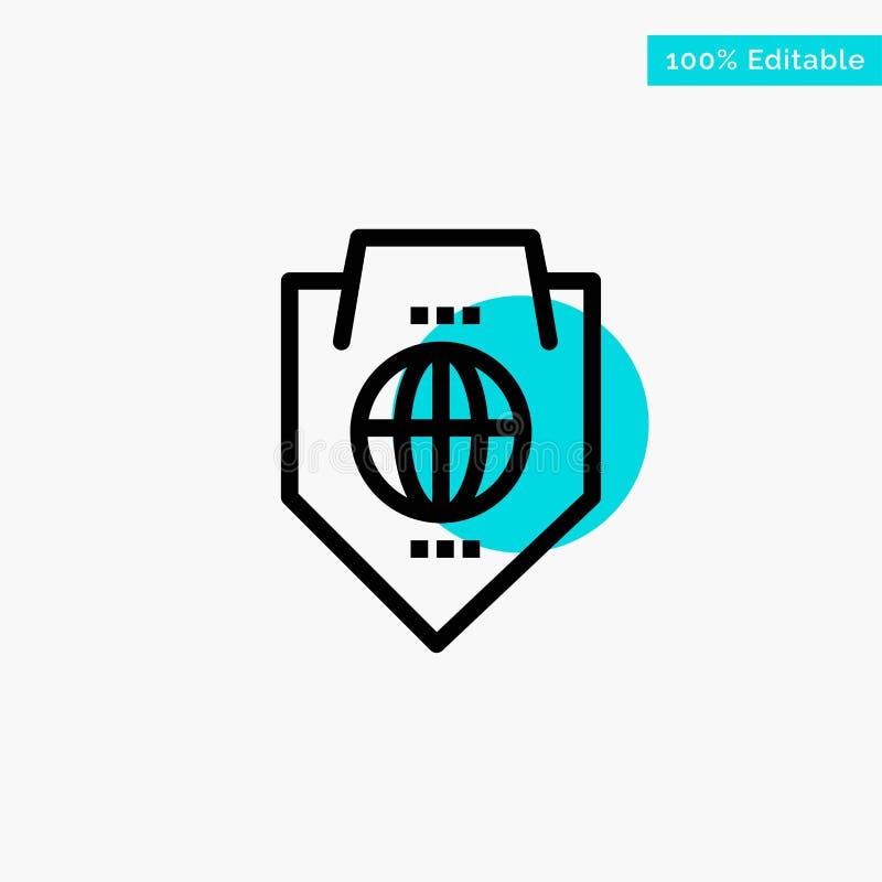 Acceso, mundo, protección, globo, icono del vector del punto del círculo del punto culminante de la turquesa del escudo libre illustration