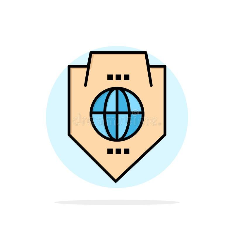 Acceso, mundo, protección, globo, icono plano del color de fondo del círculo del extracto del escudo libre illustration