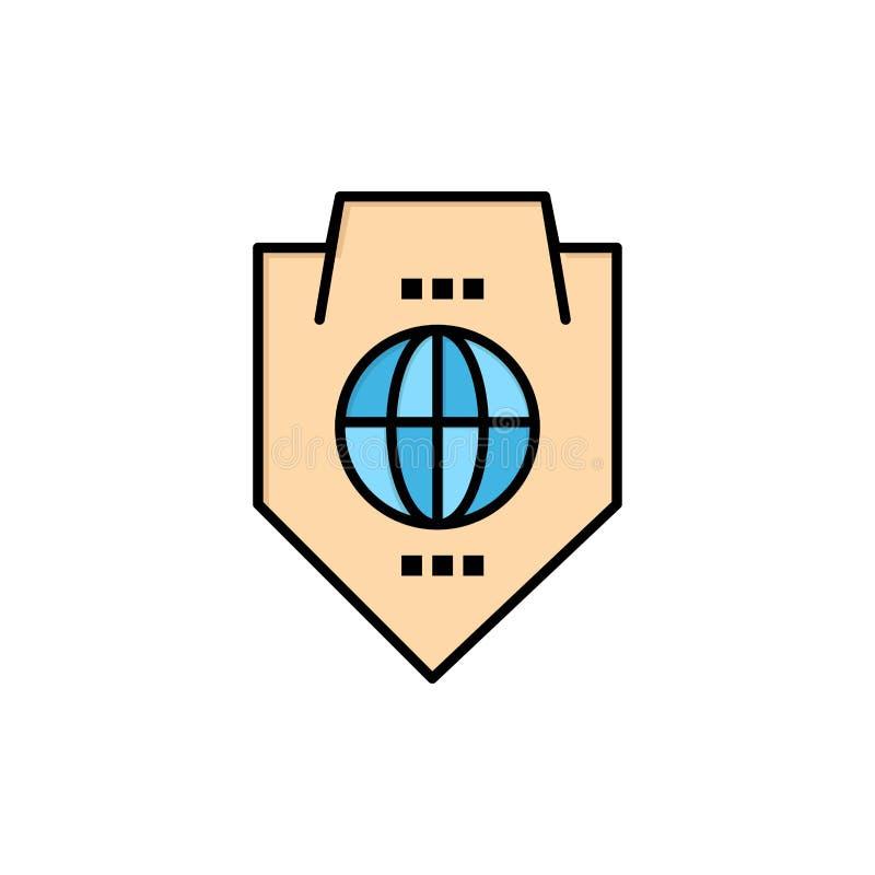 Acceso, mundo, protección, globo, icono plano del color del escudo Plantilla de la bandera del icono del vector stock de ilustración