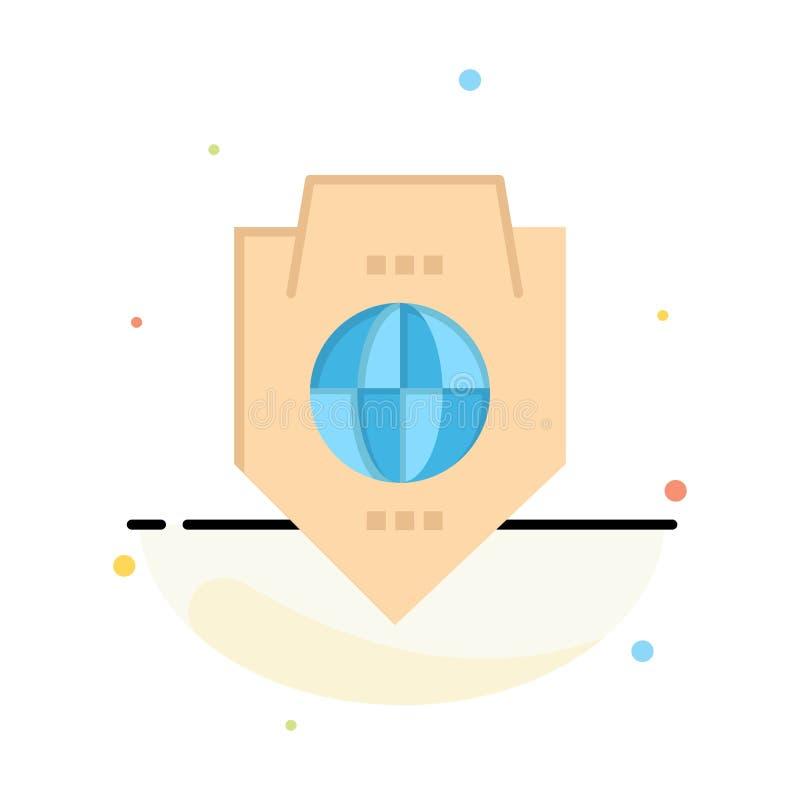 Acceso, mundo, protección, globo, negocio Logo Template del escudo color plano libre illustration