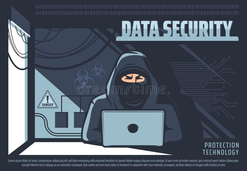 Acceso no autorizado a datos, hacker con PC libre illustration