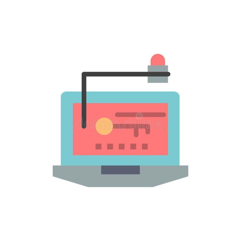 Acceso, ordenador, hardware, llave, icono plano del color del ordenador portátil Plantilla de la bandera del icono del vector ilustración del vector