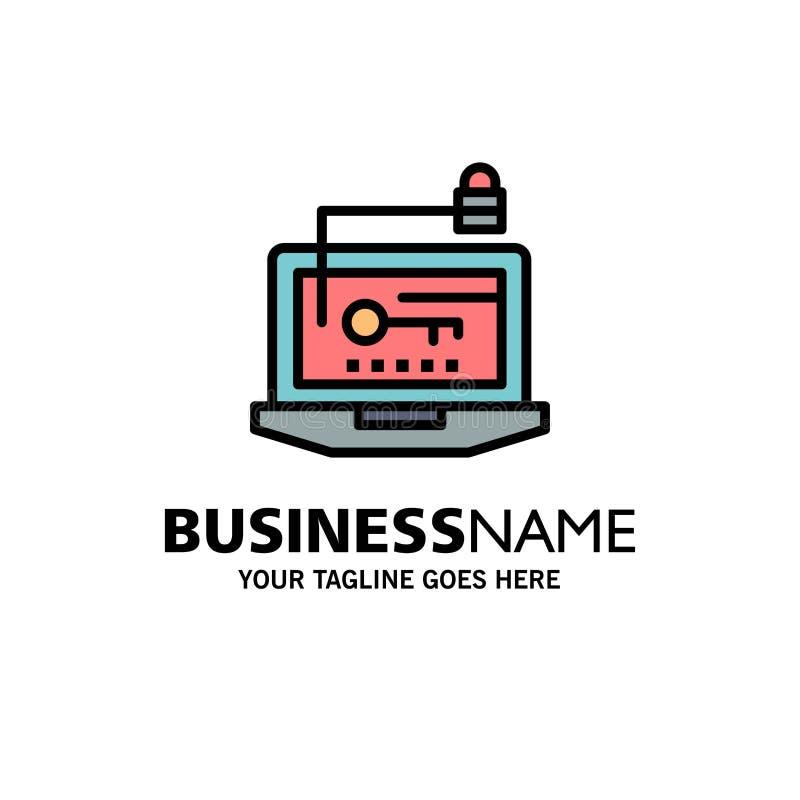 Acceso, ordenador, hardware, llave, negocio Logo Template del ordenador portátil color plano libre illustration