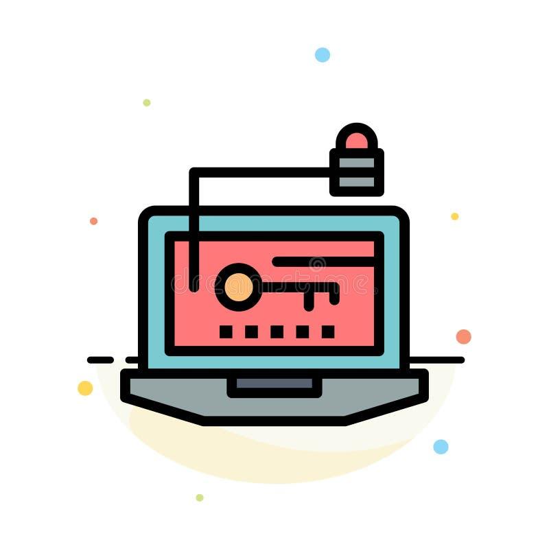 Acceso, ordenador, hardware, llave, plantilla plana del icono del color del extracto del ordenador portátil ilustración del vector