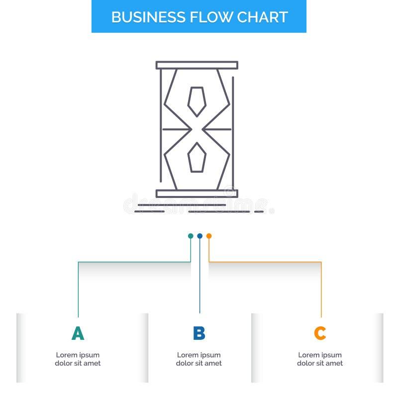 Acceso, reloj, temprano, reloj de la arena, diseño del organigrama del negocio del tiempo con 3 pasos L?nea icono para la plantil stock de ilustración