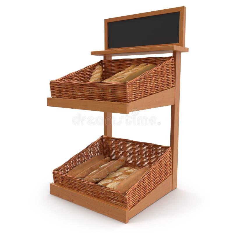 Accesorio de rejilla del estante de la panadería de la rota en blanco ilustración 3D foto de archivo