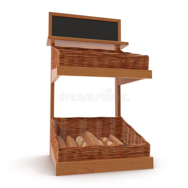 Accesorio de rejilla del estante de la panadería de la rota en blanco ilustración 3D imagen de archivo