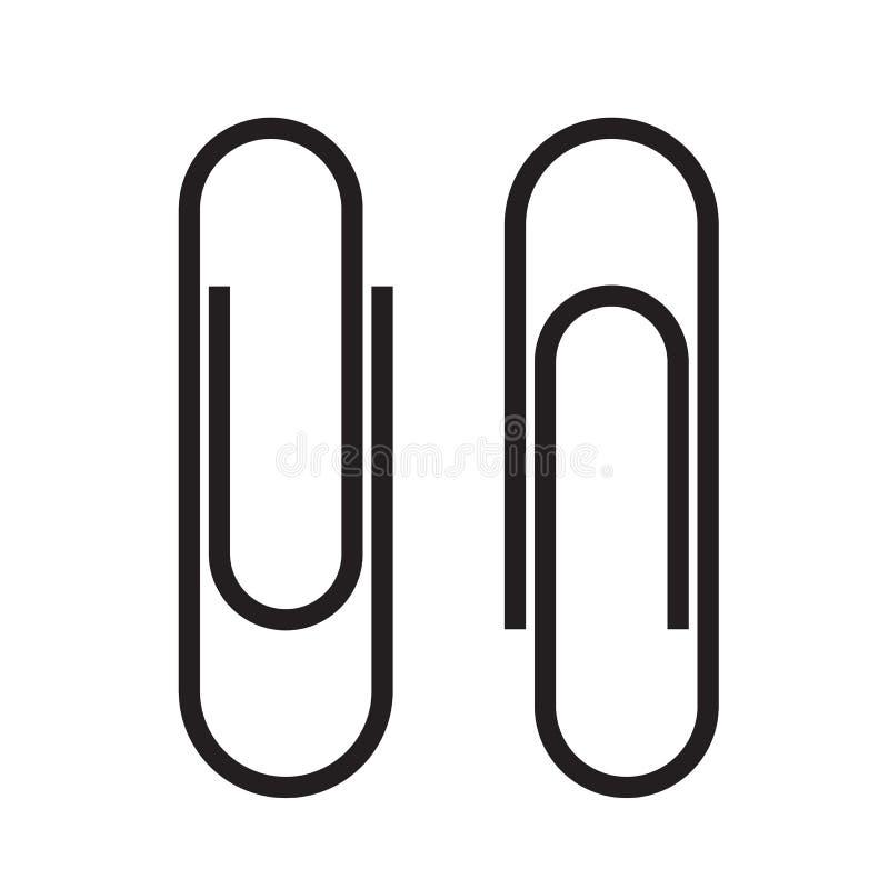 Accesorio del clip de papel Icono del negro del Paperclip Ate el documento de negocio del fichero Ilustraci?n del vector aislada  stock de ilustración