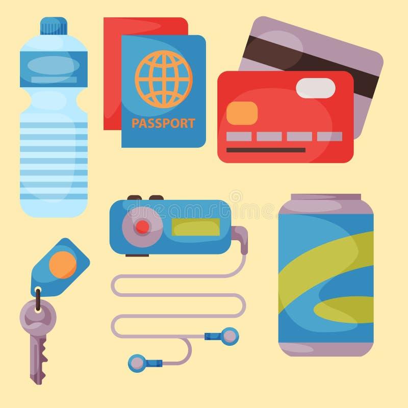 Accesorio del vector de las vacaciones de verano del tiempo de viaje en estilo plano con los iconos el viajar y del turismo libre illustration