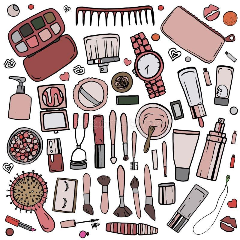 Accesorios cosméticos 2 stock de ilustración
