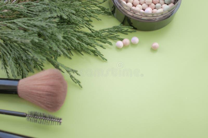Accesorios cosméticos Cepille, ruborícese, la barra de labios, ramas verdes en un fondo verde imágenes de archivo libres de regalías