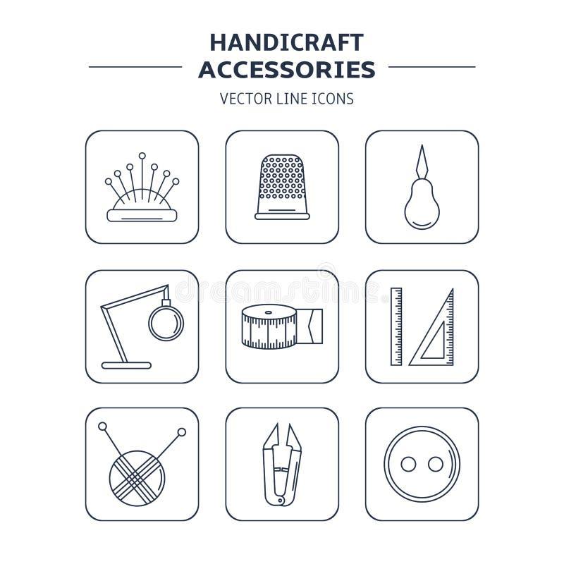 Accesorios de la artesanía del vector Línea sistema del arte de los accesorios para coser y hecho a mano ilustración del vector