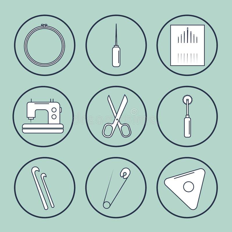 Accesorios de la artesanía del vector Línea sistema del arte de los accesorios para coser y hecho a mano stock de ilustración