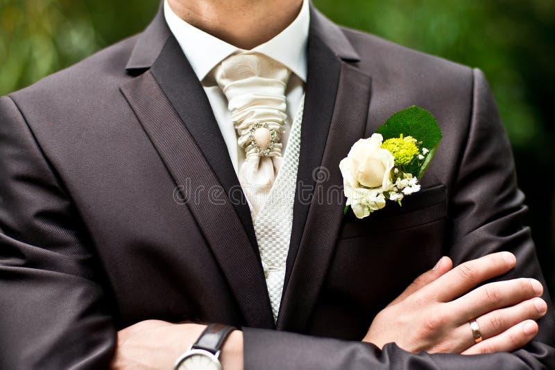 Accesorios de la boda para el novio imagenes de archivo