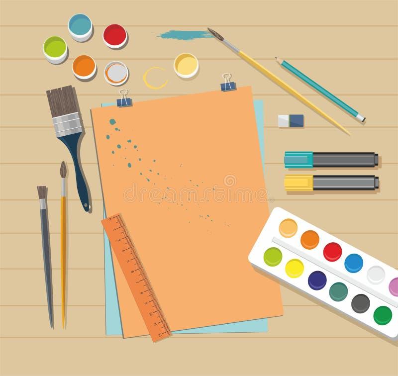 Accesorios de la escuela para el arte Pinturas, cepillos, lápices, pluma, papel libre illustration