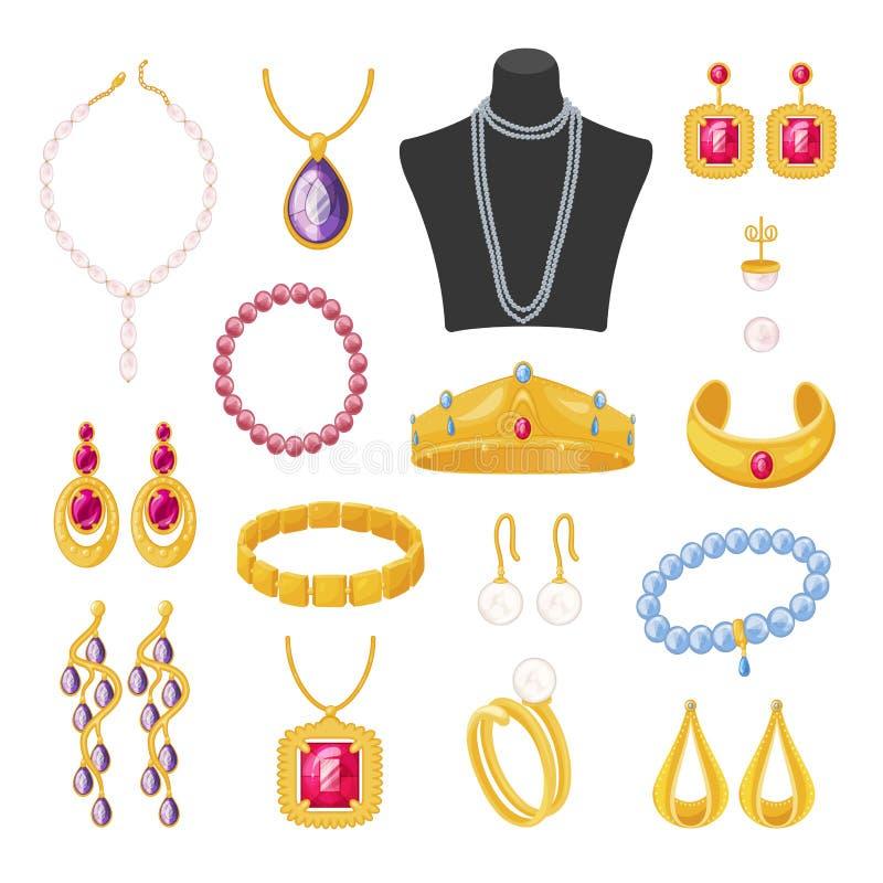 Accesorios de la joyería de las mujeres, sistema femenino elegante hermoso stock de ilustración