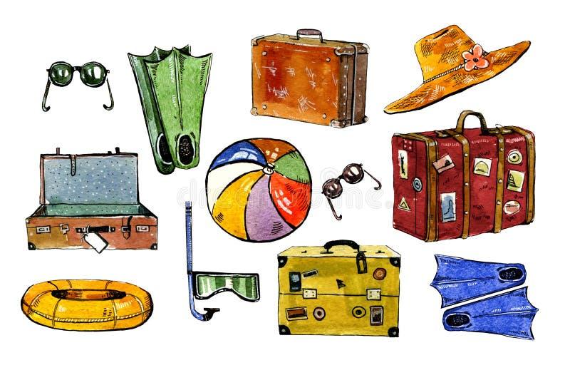 Accesorios de la natación del verano Maletas, sombrero, aletas, snorkle, libre illustration