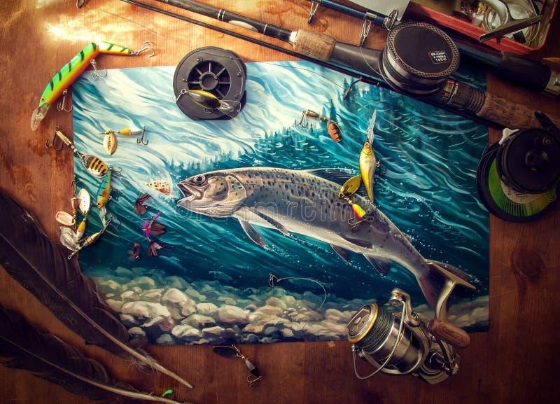 Accesorios de la pesca en la tabla stock de ilustración