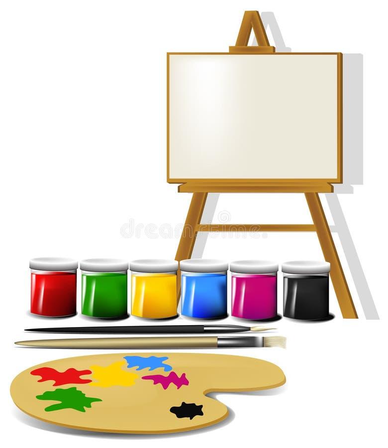 Accesorios de la pintura stock de ilustración