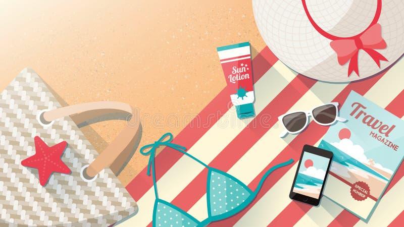 Accesorios de la playa de la moda en la arena stock de ilustración