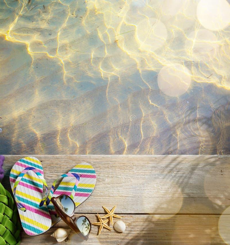 Accesorios de la playa del verano de AR fotos de archivo