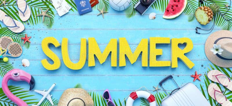 Accesorios de la playa del verano en fondo de madera azul libre illustration