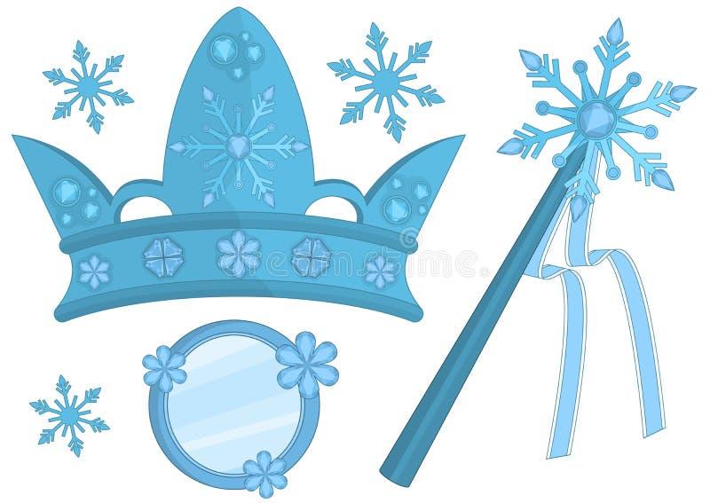 Accesorios de la reina de la nieve ilustración del vector