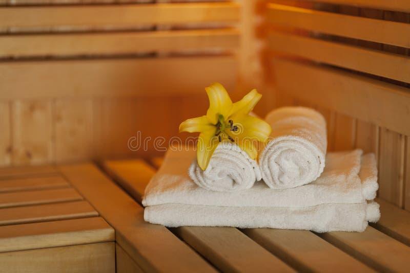 Accesorios de la sauna imagen de archivo