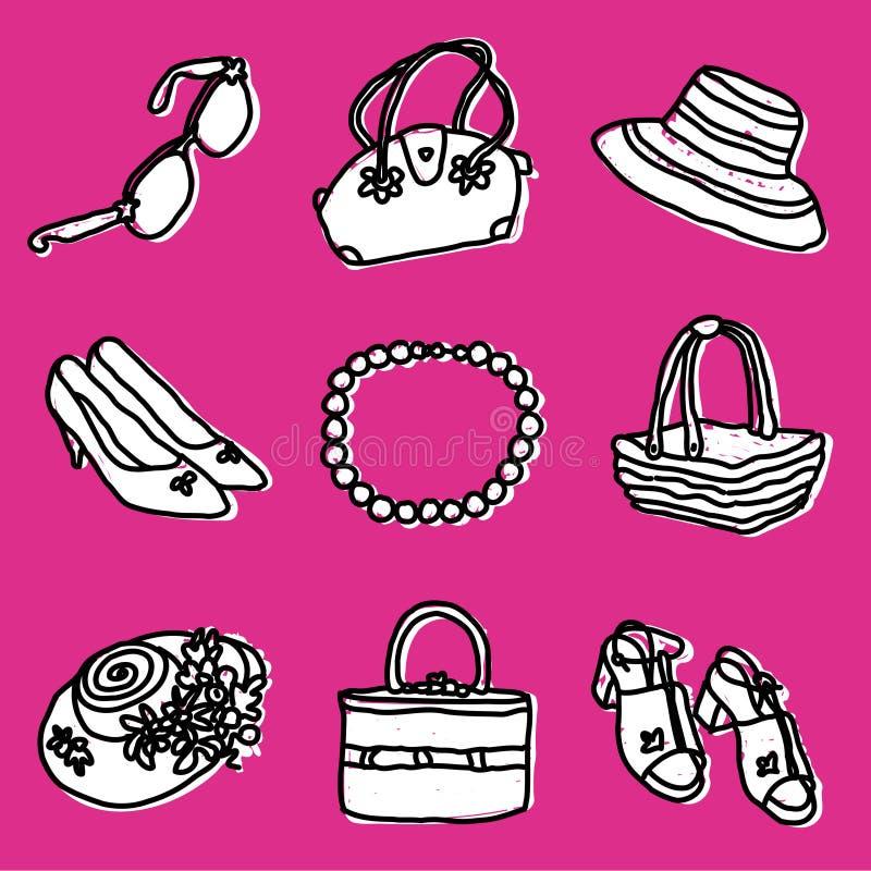 Accesorios de las muchachas fijados stock de ilustración