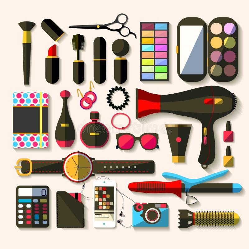 Accesorios de las mujeres Diseño plano ilustración del vector