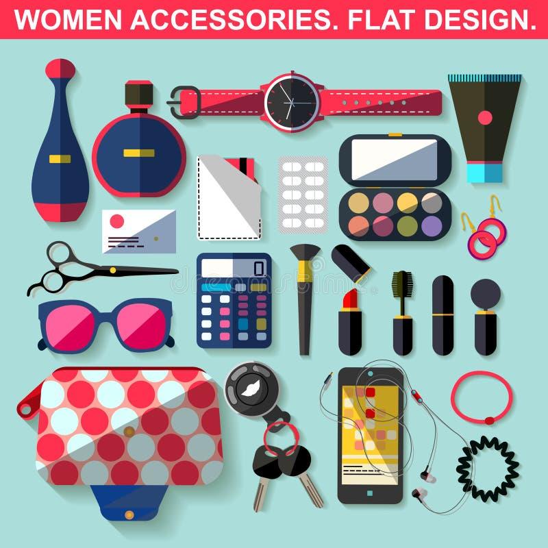 Accesorios de las mujeres Diseño plano stock de ilustración