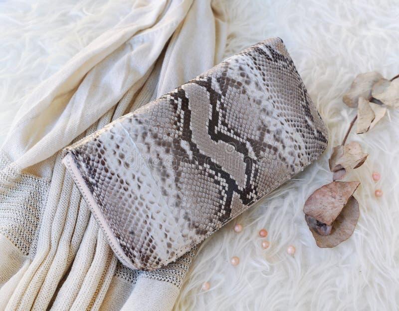 Accesorios de las mujeres de la moda Vista de arriba de esencial Vista superior de la cartera del pitón de la piel de serpiente fotografía de archivo libre de regalías