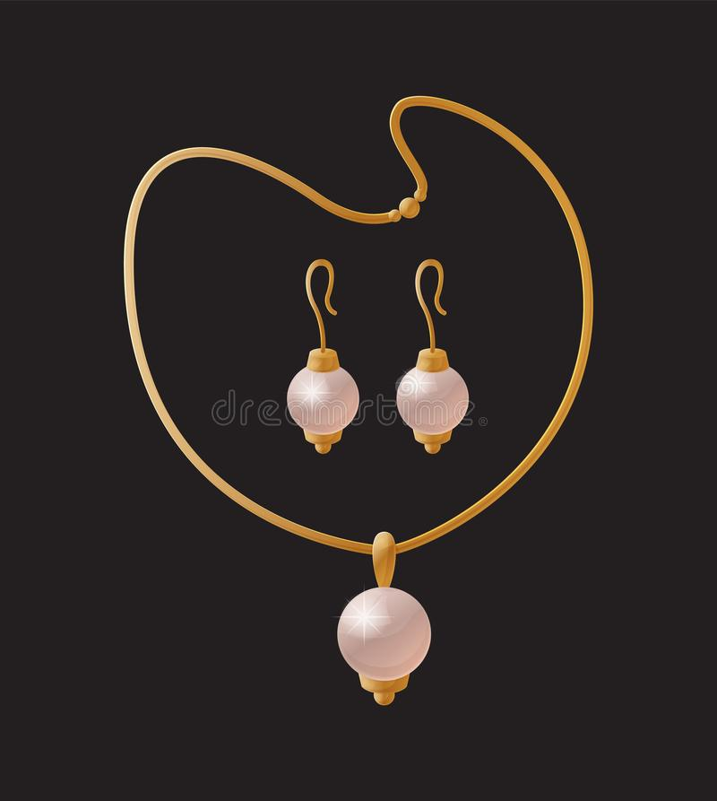 Accesorios de oro de los pendientes elegantes de la perla del collar libre illustration