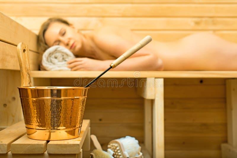 Accesorios del balneario en sauna imagen de archivo libre de regalías