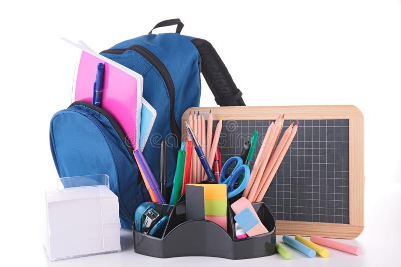 Accesorios del bolso y de la escuela imagenes de archivo