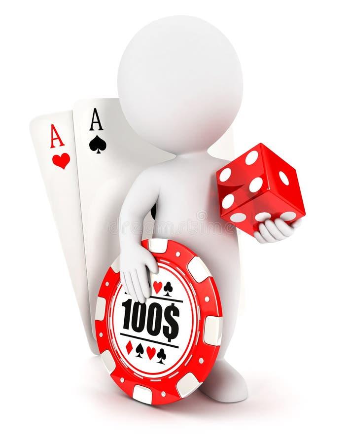 accesorios del casino de la gente blanca 3d stock de ilustración