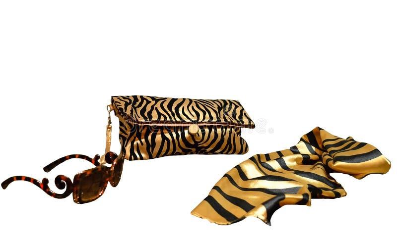 Accesorios del colorante del tigre en el fondo blanco Embrague del ` s de las mujeres fotografía de archivo