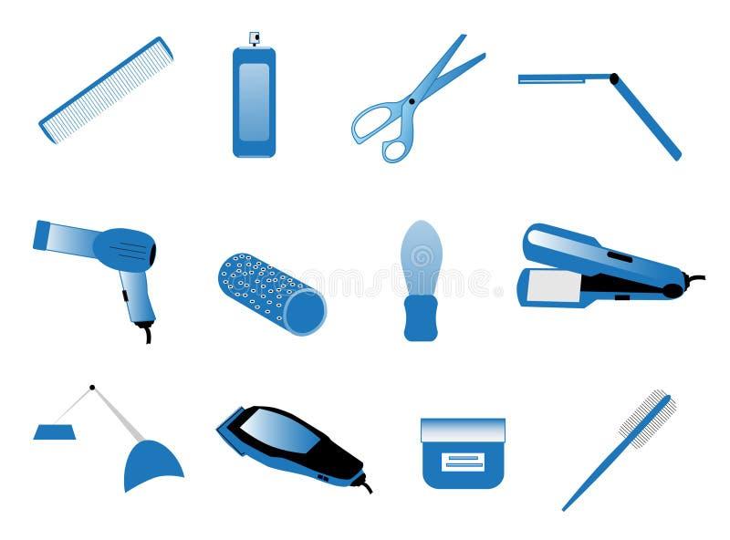Accesorios del peluquero ilustración del vector