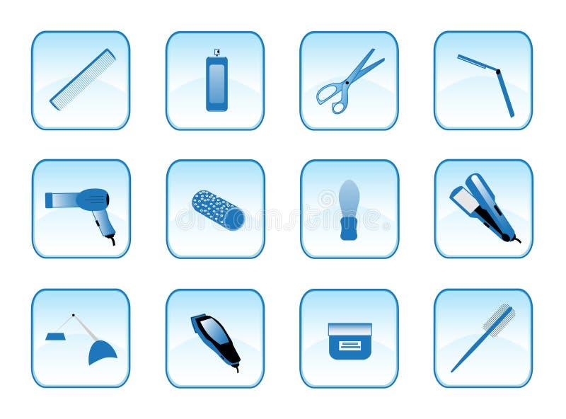 Accesorios del peluquero stock de ilustración