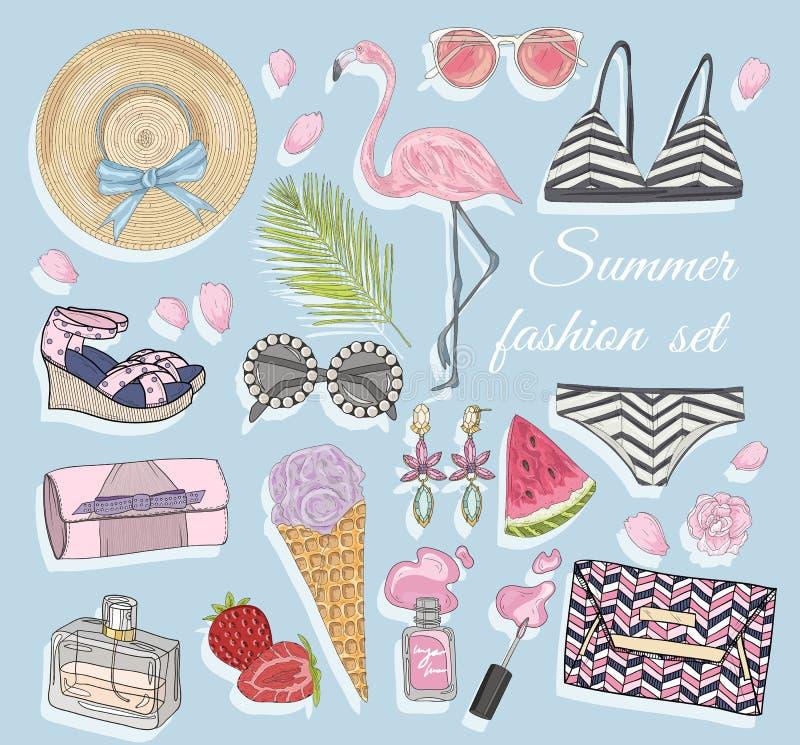 Accesorios del vector de la moda del verano fijados ilustración del vector